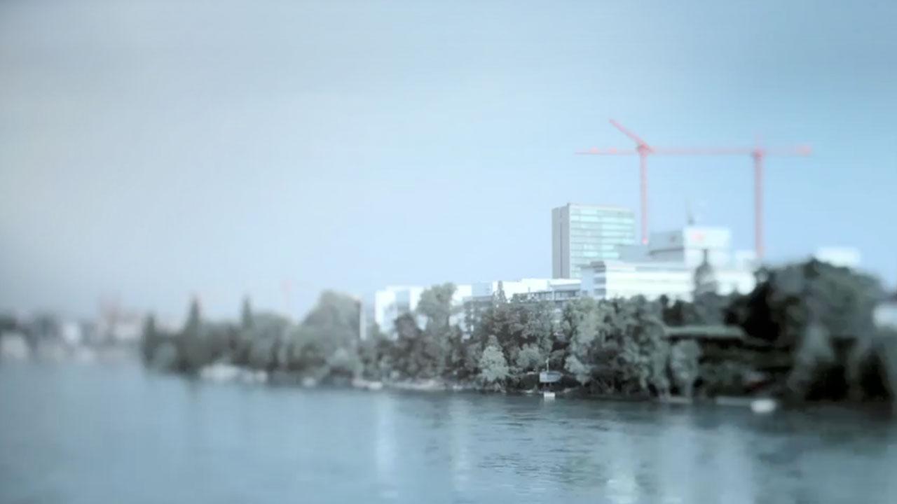 City skyline along a waterfront