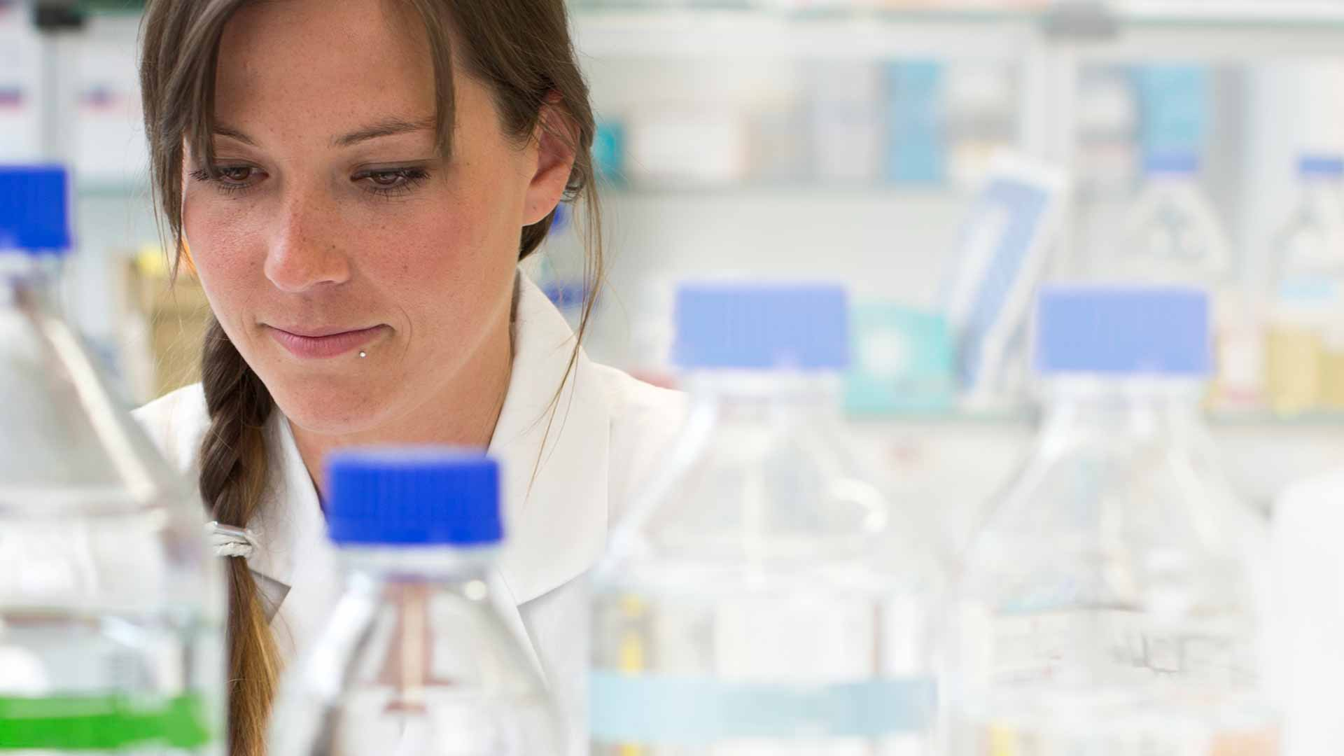 Female researcher working in a lab