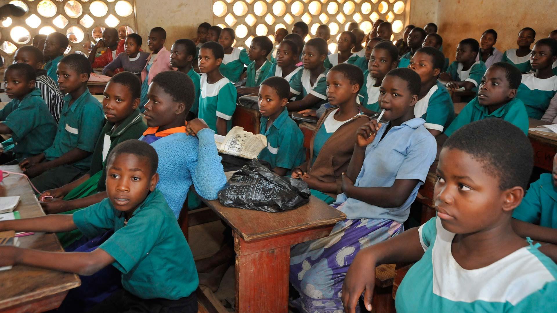 Classroom full of Malawian school children at their desks