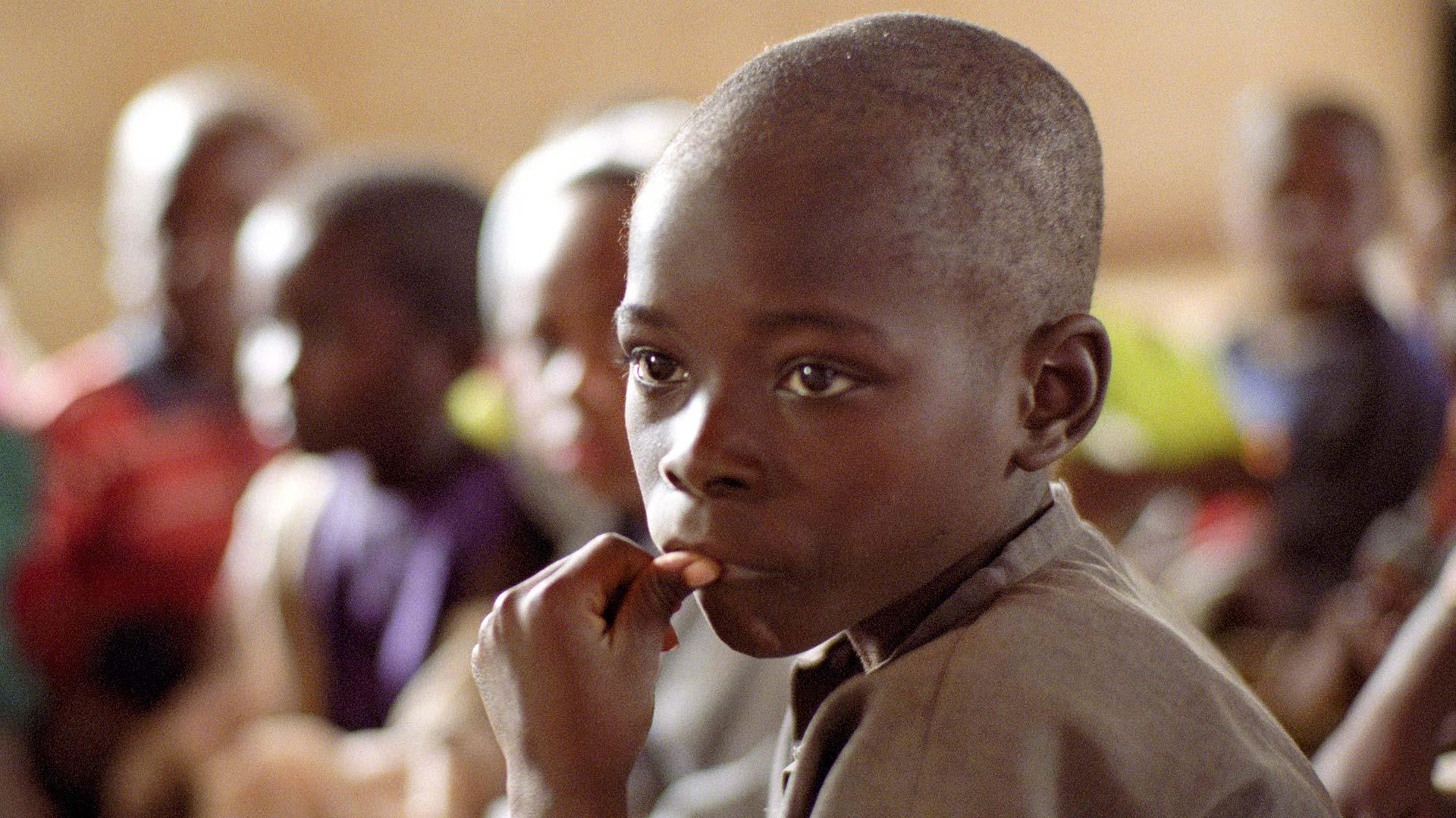 Focused Malawian child in classroom