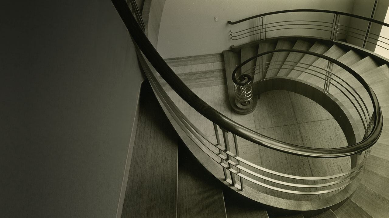 Descending spiral staircase inside Building 21 in Basel