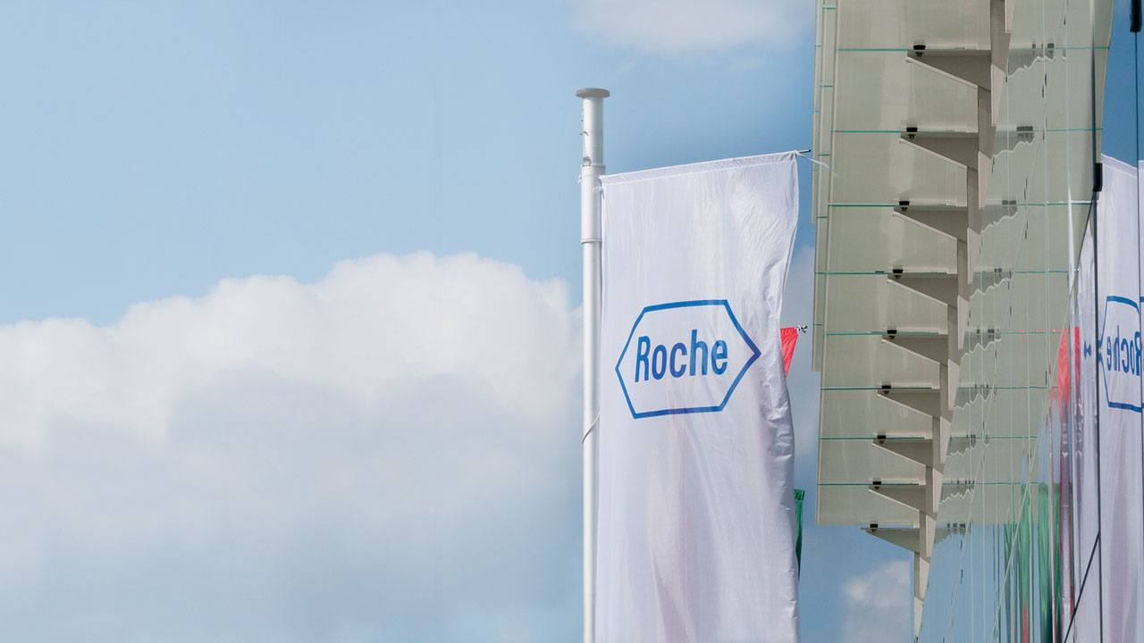 Roche flag outside of an office