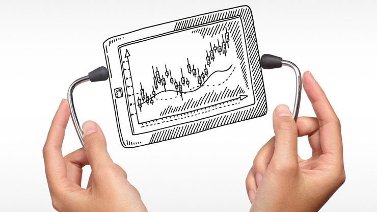 hands holding illustrated mobile devices with stethoscope